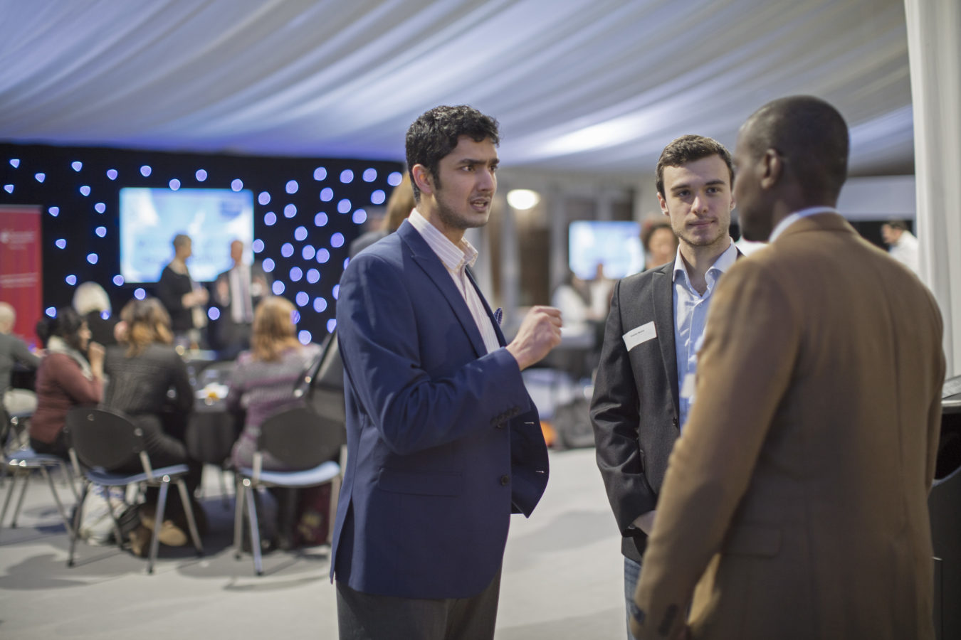 Guests enjoying FZ's 10th birthday bash in the Rolle Marquee at the University of Plymouth